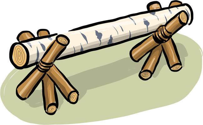 Illustrasjon av en benk laget med stokker