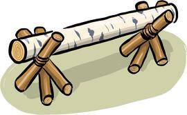 Illustrasjon av en benk laget med trefotinger.
