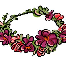 Illustrasjon av ferdig blomsterkrans.