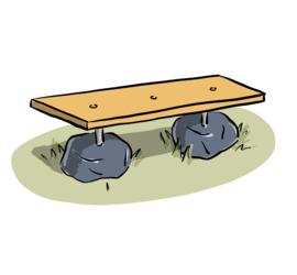Illustrasjon av benk laget med planke og steiner.