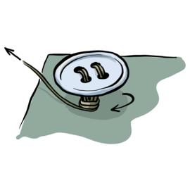 Illustrasjon av hvordan man syr i en knapp.