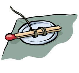 Illustrasjon av hvordan man syr i en knapp med hjelp av en fyrstikk.