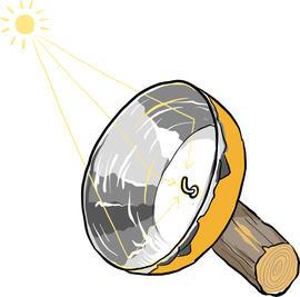 Illustrasjon av en solovn.