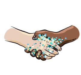 Illustrasjon av hilsende hender med bakterier.