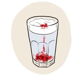 Illustrasjon av eksperimentet regnsky i glass.