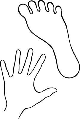 Illustrasjon av omrisset til et fotavtrykk og et håndavtrykk.