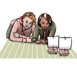 Illustrasjon av speidere som leker med vindbiler.