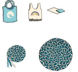 Illustrasjon av ulike måter å gjenbruke t-skjorter på.