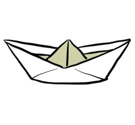 Illustrasjon av papirbåt.
