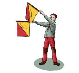 Illustrasjon av kommunikasjon med semafor-flagg.