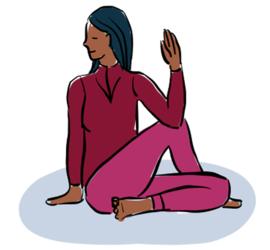 Illustrasjon av yoga-øvelsen sittende vri.