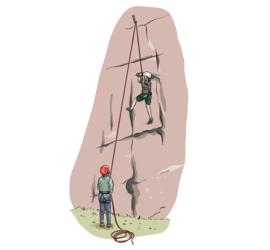 Illustrasjon av noen som klatrer utendørs.