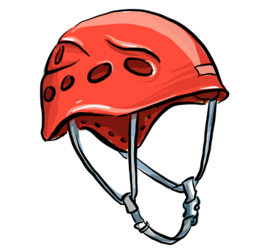Illustrasjon av en klatrehjelm