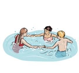 Illustrasjon av lek i vannet.